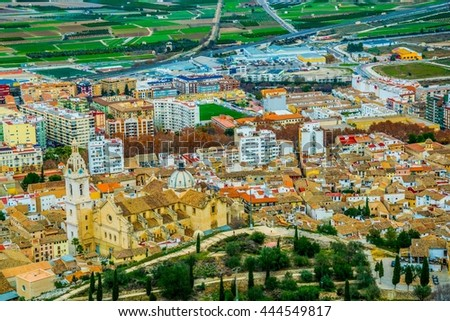 aerial view of spanish city xativa famous for its castle - stock photo