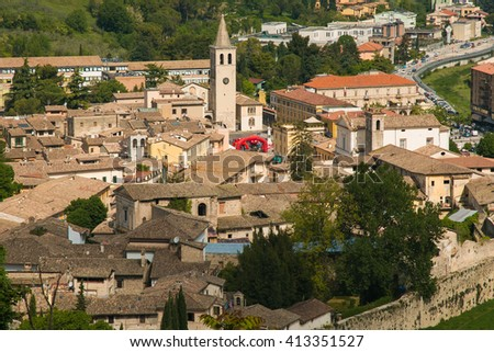 Aerial view of Spoleto in Umbria. - stock photo