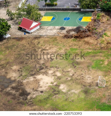 Aerial view of sport field in country side - stock photo