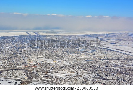 aerial view of St. Catherines with the Welland canal in the background - stock photo