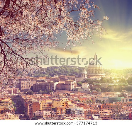 Aerial View of St. Peter's cathedral in Rome, Italy at spring sunset  Counter light shot Vintage colored picture Love and travel concept - stock photo