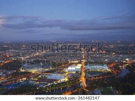 aerial view of stadiums from Skydeck 88, Melbourne - stock photo