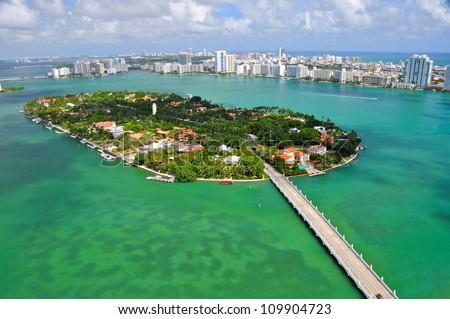 Aerial view of Star Islands, Miami, Florida, USA - stock photo