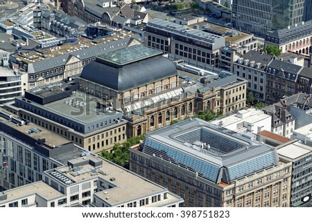 Aerial view of Stock exchange in Frankfurt, Germany from the Main Tower.e in Frankfurt - stock photo