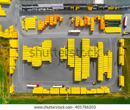 Aerial view of storage and freight terminal. Industrial background. - stock photo