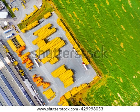 Aerial view of storage and freight terminal. Industrial background. Industry from above. - stock photo