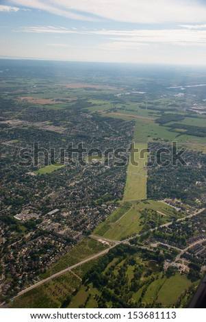 Aerial view of suburb and hydro corridor - stock photo