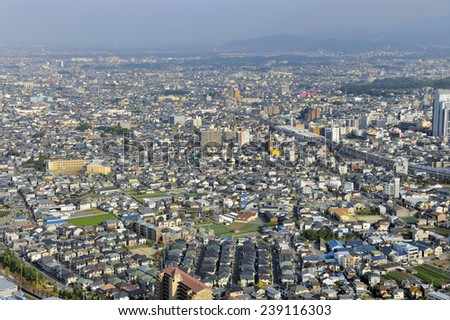 Aerial view of suburbs of Osaka, Japan - stock photo