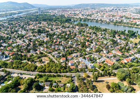 Aerial View Of Suburbs Roofs In Vienna, Austria. - stock photo