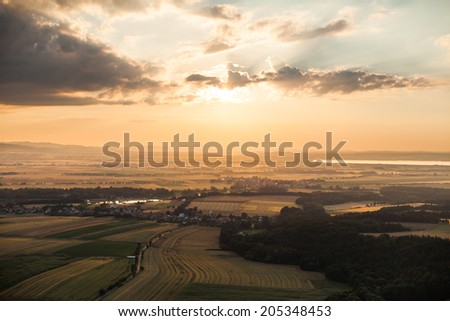 aerial view of sunset - stock photo