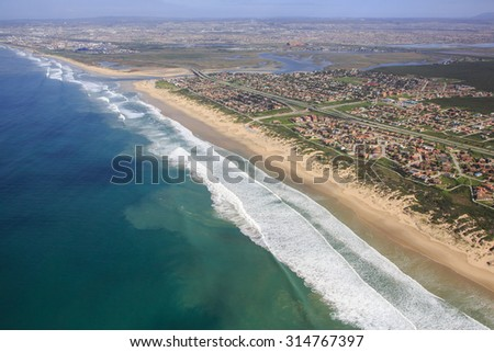 Aerial view of Swartkops River mouth and estuary in South Africa - stock photo