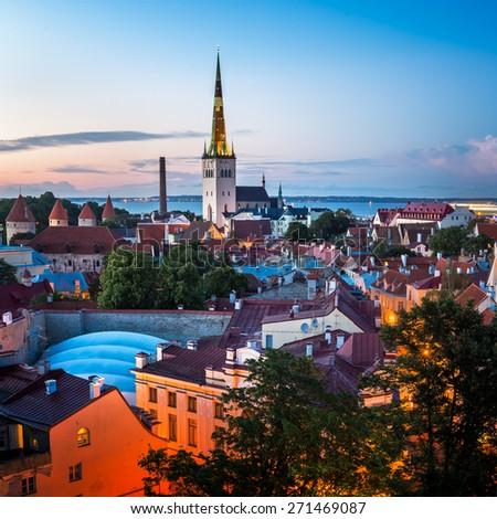 Aerial View of Tallinn Old Town in the Evening, Tallinn, Estonia - stock photo