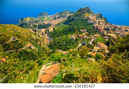 aerial view of Taormina from upper town Castelmola, Sicily, Italy - stock photo