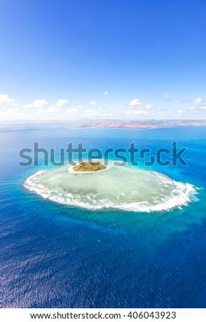 Aerial view of Tavarua, heart shaped island, Mamanucas islands, Fiji - stock photo