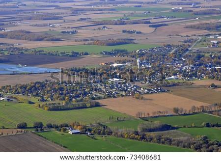 Aerial view of Tavistock, Ontario Canada - stock photo