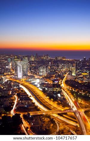 Aerial  View Of Tel Aviv At Sunset - Tel Aviv Cityscape - stock photo