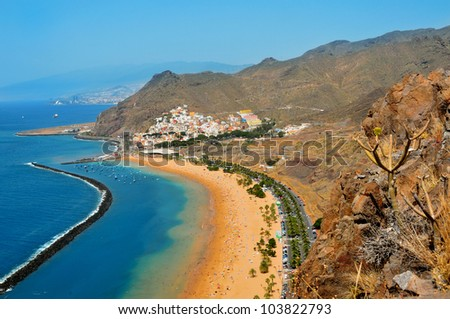 Aerial view of Teresitas Beach in Tenerife, Canary Islands, Spain - stock photo