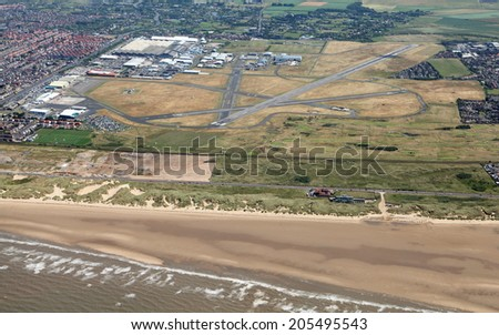 aerial view of the airport at Blackpool, UK - stock photo