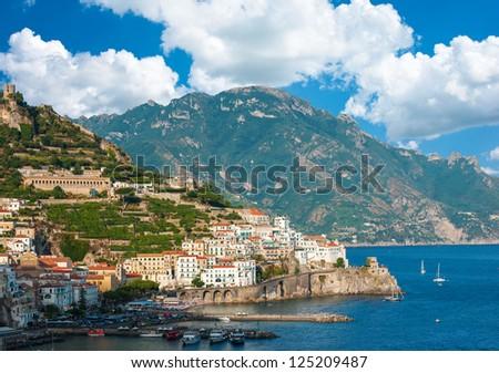 Aerial view of the Amalfi Coast with Amalfi city, Italy - stock photo
