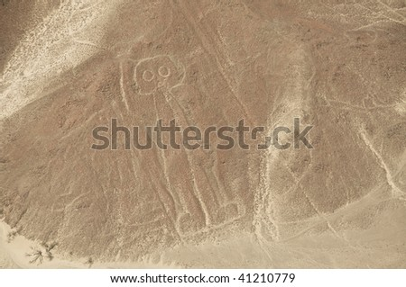 Aerial View of The Astronaut Geoglyph at the Nazca Lines in Peru - stock photo