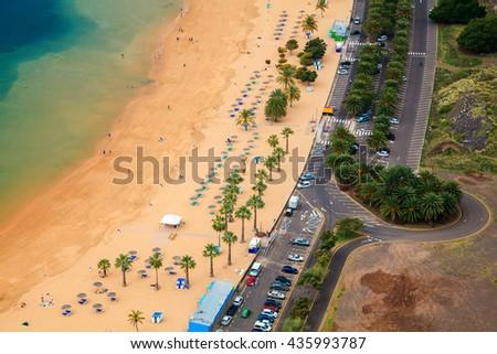 aerial view of the beach Las Teresitas, Tenerife, Canary Islands, Spain - stock photo
