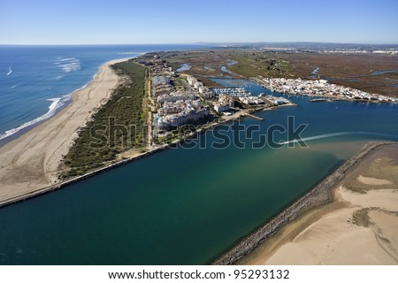 aerial view of the beach of Isla Canela in Ayamonte, Huelva, Andalusia, Spain - stock photo