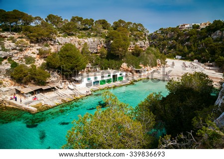 aerial view of the beautiful bay of Mallorca - Cala Pi beach - stock photo