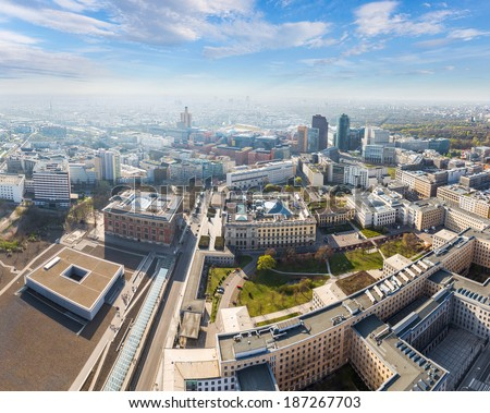 Aerial view of the Berlin business district and city center - stock photo