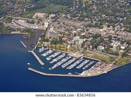 aerial view of the Bronte Marina, Oakville Ontario Canada - stock photo