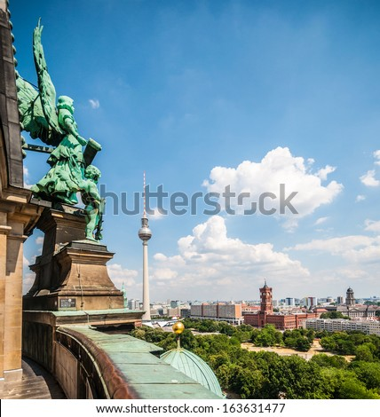 aerial view of the center of Berlin - stock photo