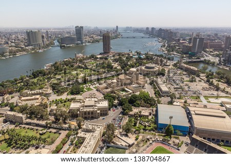 Aerial view of the city of Cairo along the Nile river - stock photo