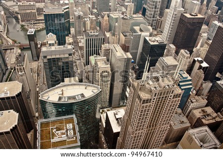 Aerial view of the city of Chicago showing the densely packed buildings - stock photo
