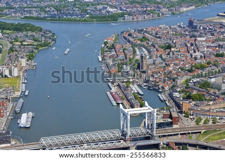 Aerial view of the city of Dordrecht with the Great Church (Grote Kerk) in the province of Zuid-Holland, the Netherlands. - stock photo
