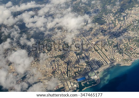 aerial view of the city of Genoa in Liguria - stock photo