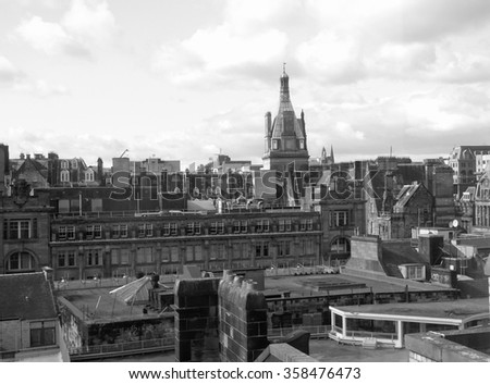 Aerial view of the city of Glasgow, Scotland in black and white - stock photo