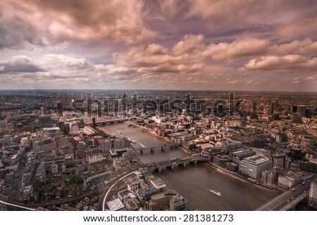Aerial view of the city of London with beautiful sky. - stock photo