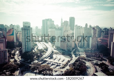 Aerial view of the city of Sao Paulo, Anhangabau Valley and Viaduct of Tea. Application of Vintage effect on image   - stock photo