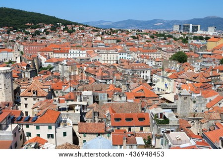 Aerial view of the city of Split, an ancient old town, popular cruise destination, in Croatia - stock photo