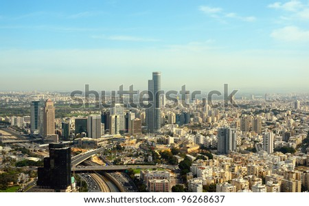 Aerial view of the City of Tel Aviv, Israel - stock photo