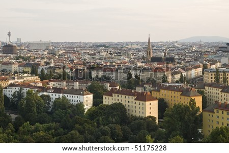 Aerial view of the city of Vienna (Austria) - stock photo
