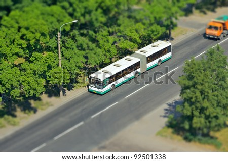 aerial view of the city, tilt-shift effect - stock photo