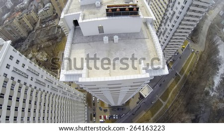 Aerial view of the cityscape with high buildings. - stock photo