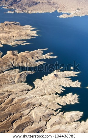 Aerial view of the Colorado River and Lake Mead, a snapshot taken from a helicopter on the border of Arizona and Nevada, USA - stock photo