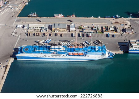 Aerial view of the commercial port of Cagliari - stock photo