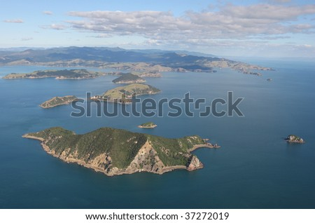 Aerial view of the Cormandel coast, New Zealand - stock photo