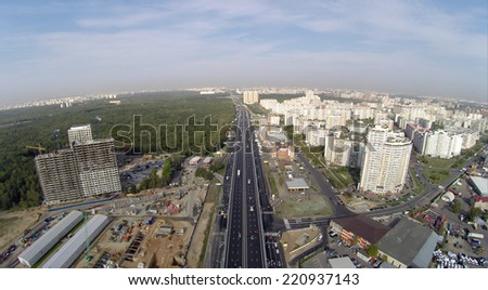 Aerial view of the elevated road on the Novoryazanskoe highway in Kotelniki near Moscow, Russia - stock photo
