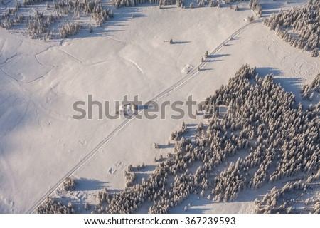 aerial view of the forest in winter time in Poland in Karkonosze mountains - stock photo