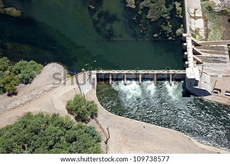 Aerial view of the Granite Reef Diversion Dam near Mesa, Arizona - stock photo