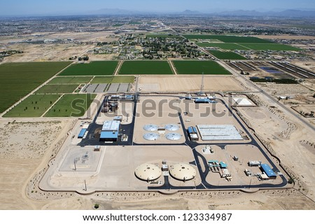 Aerial view of the Greenfield Water Reclamation Plant in Gilbert, Arizona - stock photo