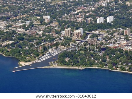 aerial view of the harbor area in Oakville Ontario, Canada - stock photo